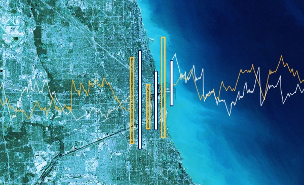 A satellite map of the Chicagoland area, with a bar and line graph superimposed over the image.