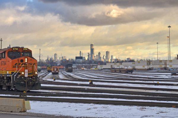 A Burlington Northern Santa Fe rail yard in the west side of Chicago.