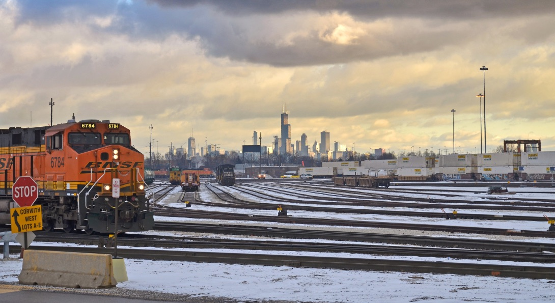 A Burlington Northern Santa Fe rail yard on the west side of Chicago.
